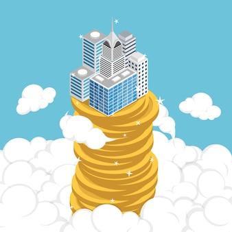 Negócios isométricos 3d plano construindo na pilha de moedas acima da nuvem. sucesso nos negócios e conceito de crescimento econômico.