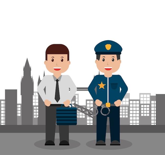 Negócios masculinos e pessoas da polícia cidade de fundo