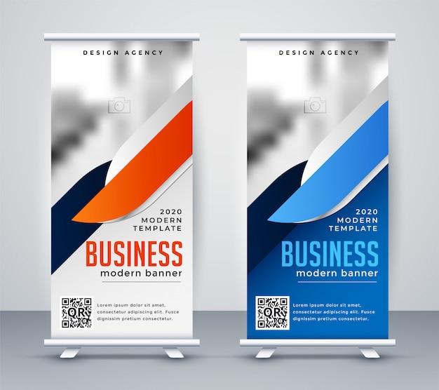 Negócios modernos arregaçar modelo de design de bandeira