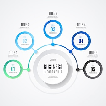 Negócios modernos infográfico com cores azuis