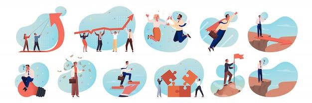 Negócios, motivação, trabalho em equipe, carreira, sucesso, conceito conjunto de brainstorming