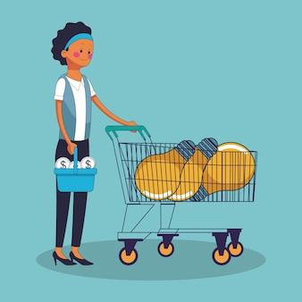 Negócios mulher compras idéias desenhos vetoriais design gráfico ilustração