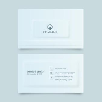 Negócios neumórficos ou cartão de visita na frente e no verso.