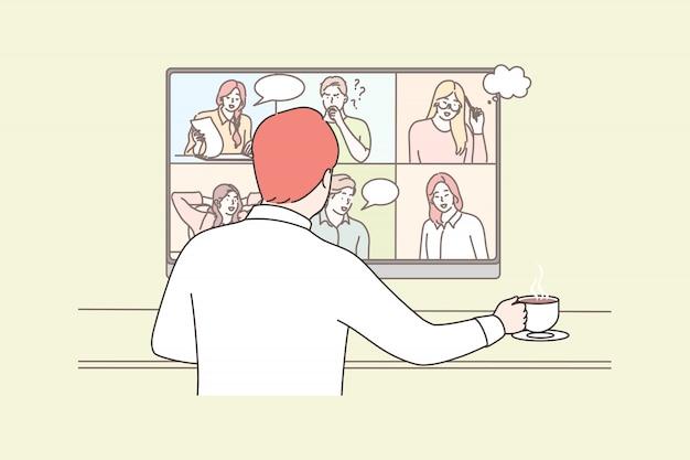 Negócios, on-line, chamada, conferência, reunião, comunicação, quarentena, conceito de coronavírus