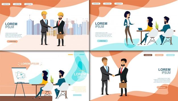 Negócios online services vector web banners set