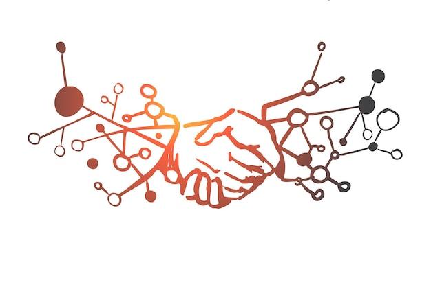 Negócios, parceria, aperto de mão, acordo, conceito de confiança. mão desenhada aperto de mão do esboço do conceito de empresários.