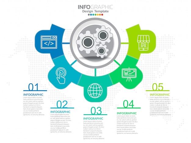 Negócios passo processo gráfico infográficos com passo.