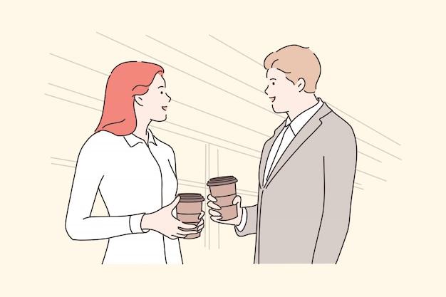 Negócios, pausa, comunicação, amizade, conceito de reunião