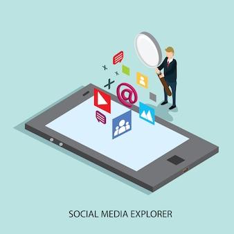 Negócios pesquisando tecnologia de mídia social