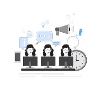Negócios pessoas consultoria grupo suporte chat comunicação rede social fina linha vetor illustra