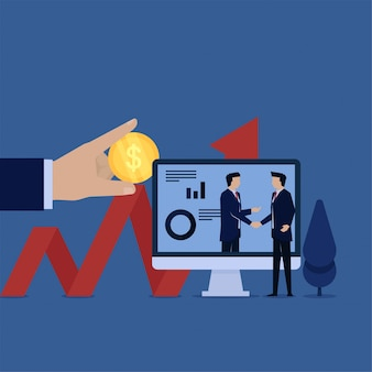 Negócios plana vector conceito gerente aperto de mão com a metáfora do investidor de investimento.