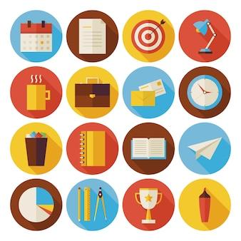 Negócios planos e ícones de círculo de escritório definidos com sombra longa. ilustrações vetoriais com estilo simples. de volta à escola. conjunto de ciência e educação. coleção de instrumentos e ferramentas. sucesso e liderança