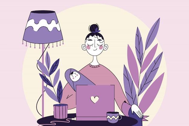 Negócios, quarentena, freelance, coronavírus, maternidade, conceito de infância