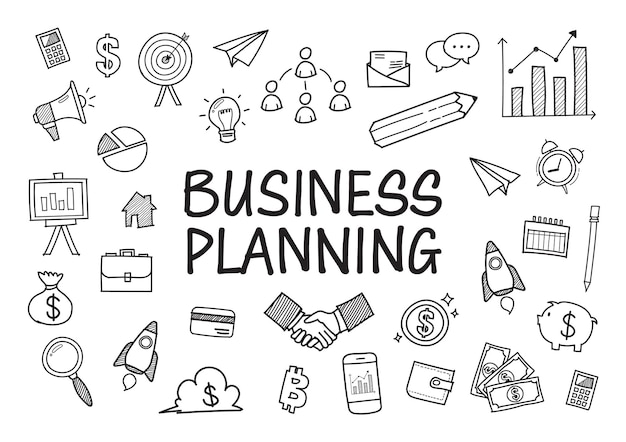 Negócios rabiscam elementos desenhados à mão