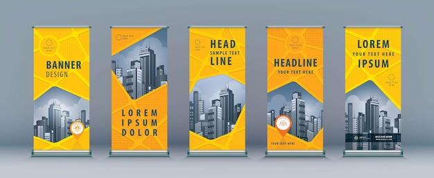 Negócios roll up. design standee. modelo de banner, mapa de estrada geométrico abstrato, exibição de suporte com bandeira j