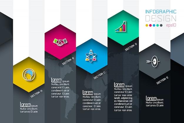 Negócios rótulos hexagonais forma infográfico