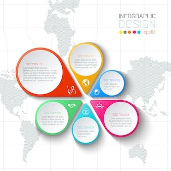 Negócios rótulos infográfico sobre fundo de mapa do mundo.