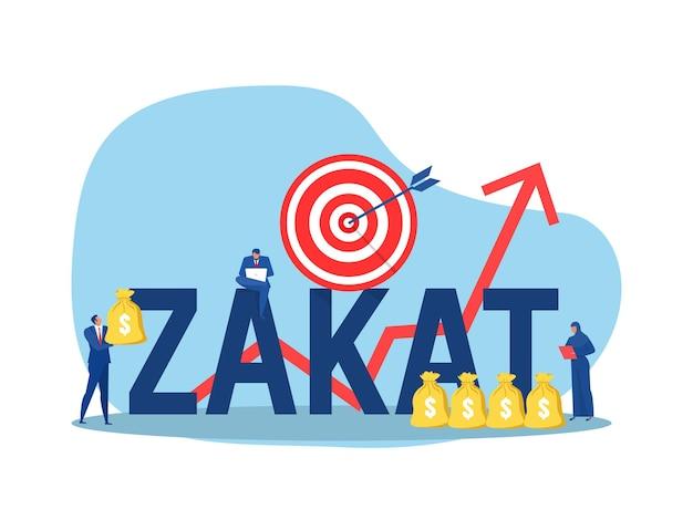 Negócios segurando dinheiro para pagar zakat com conceito de destino de doação de crescimento zakat