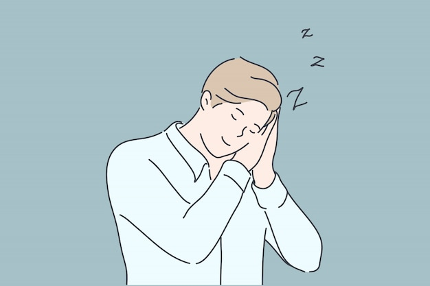 Negócios, sono, fadiga, conceito de insônia