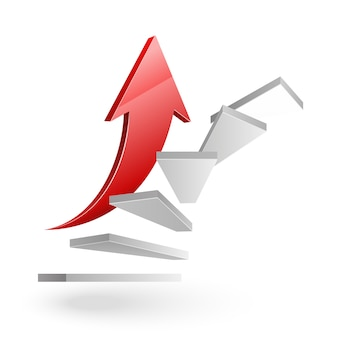 Negócios subindo escadas para o sucesso com uma seta vermelha em branco