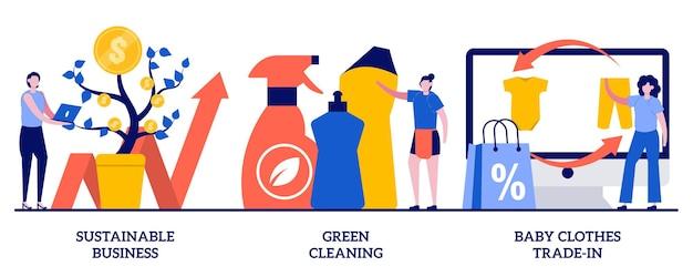 Negócios sustentáveis, limpeza verde, conceito de troca de roupas de bebê com pessoas minúsculas. conjunto de negócios ambientalmente amigável. em segunda mão, serviço ecológico, salve a metáfora do ecossistema.