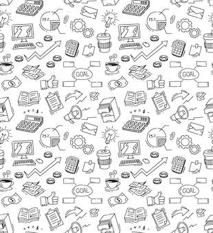 Negócios temáticos doodle fundo sem emenda