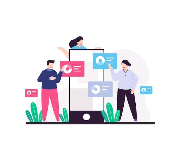 Negócios trabalham juntos conceito ilustração plana