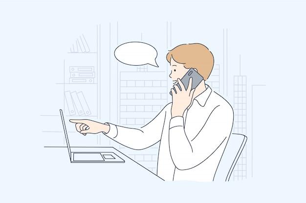 Negócios, trabalho, comunicação, conceito de discussão