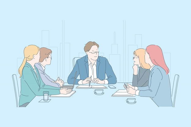 Negócios, trabalho em equipe, juntos, conhecer o conceito