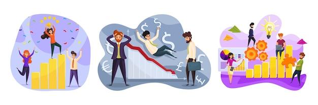 Negócios, trabalho em equipe, reparo, serviço, lucro, finanças, conceito definido de sucesso. equipe de coleta de mulheres de negócios de riqueza têm crescimento de capital para manutenção e inflação de moeda de falência financeira.