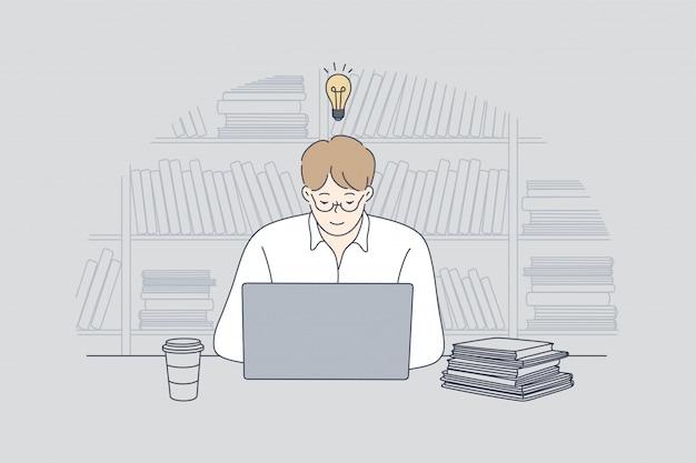 Negócios, trabalho, sucesso, educação, negócios, conceito freelance.