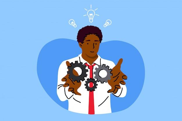Negócios, trabalho, sucesso, idéia, realização de objetivos, conceito de análise