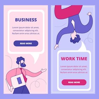 Negócios, trabalho tempo web plana banner conjunto