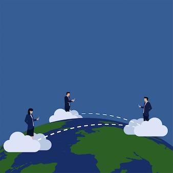 Negócios usam telefone e tablet internet conectados através da conexão global do mundo.