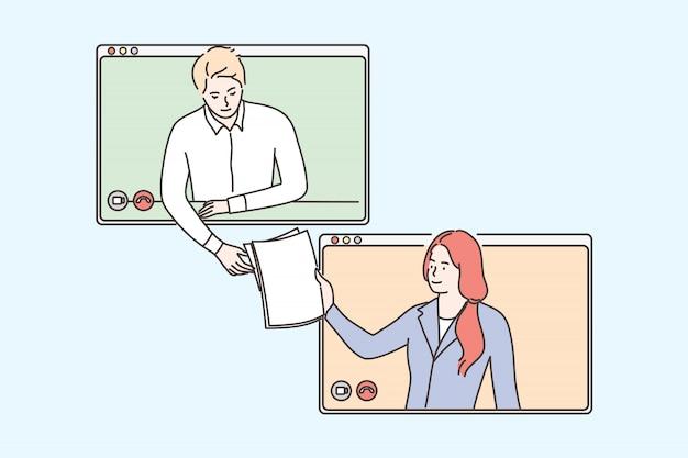 Negócios, vídeo, conferência, trabalho, distanciamento social, quarentena, conceito de coronavírus