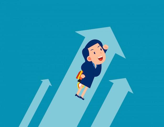 Negócios voando. trabalhadores do crescimento, conceito de estilo dos desenhos animados
