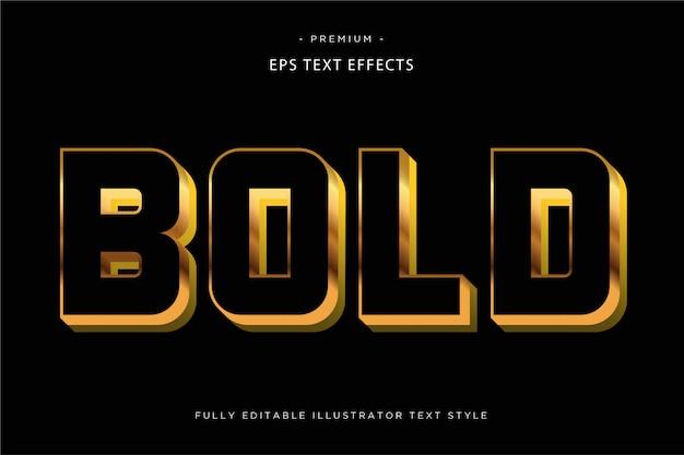 Negrito dourado efeito de texto 3d estilo de texto 3d