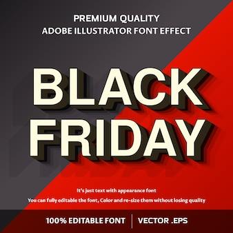 Negrito moderno preto sexta-feira 3d fácil efeito fonte editável
