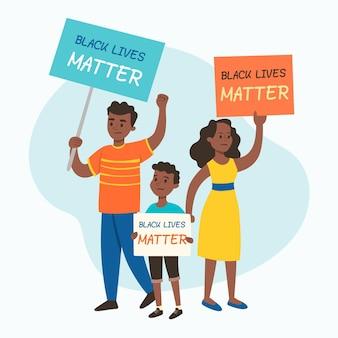 Negros protestando com cartazes