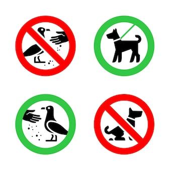 Nenhum cão suja e sinais de proibição de alimentar pássaros