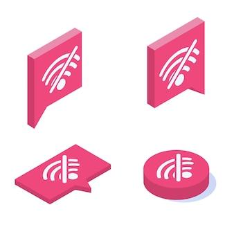 Nenhum conjunto de ícones isométricos de vetor wifi. sinal de conexão de internet ruim.