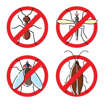 Nenhum conjunto de ícones plana de insetos. símbolos inseticidas.