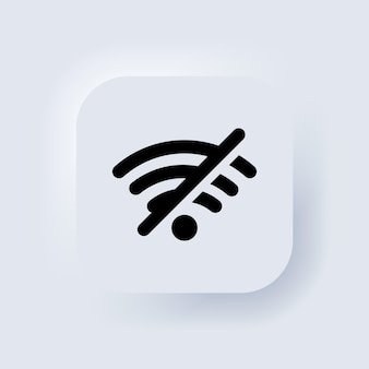 Nenhum ícone de sinal de wi-fi. erro de conexão. elementos para conceitos móveis e aplicativos da web. botão da web da interface de usuário branco neumorphic ui ux. neumorfismo. vetor eps 10.