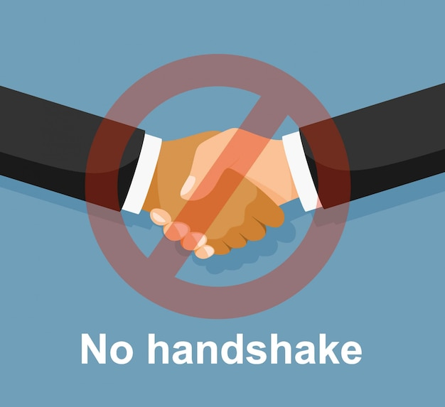 Nenhum ícone plana de aperto de mão. sem acordo. infecção nas mãos.