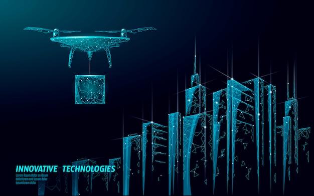 Nenhum modelo de banner de cidade drones. regulamentação da entrega aérea de veículos aéreos não tripulados. a lei proíbe a proteção da privacidade das aeronaves. segurança da informação da zona privada. ilustração poligonal.