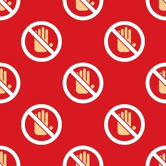 Nenhum padrão de ícone de mão de entrada. fundo do sinal de parada