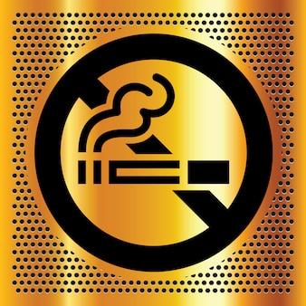 Nenhum símbolo de fumar em uma cor dourada para sinal