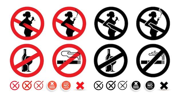Nenhum sinal de álcool, nenhum sinal de fumar. aviso as mulheres grávidas não devem beber e fumar.