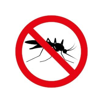 Nenhum sinal de alerta de círculo vermelho do ícone de mosquito