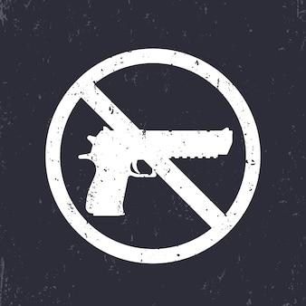 Nenhum sinal de arma com pistola, silhueta de revólver, nenhuma arma permitida, branco no escuro, ilustração vetorial